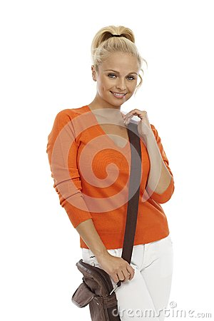 Blond woman with shoulder bag