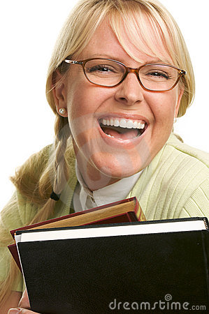 Free Blond Woman Smiles & Carries Stack Of Books Stock Image - 5767721