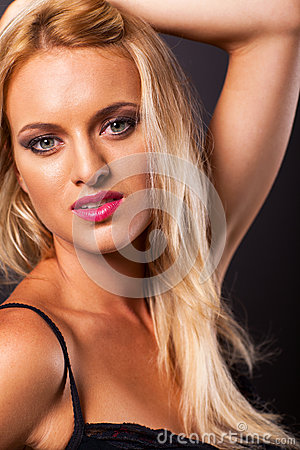 Blond woman studio