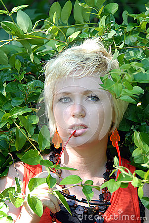Blond woman with vines