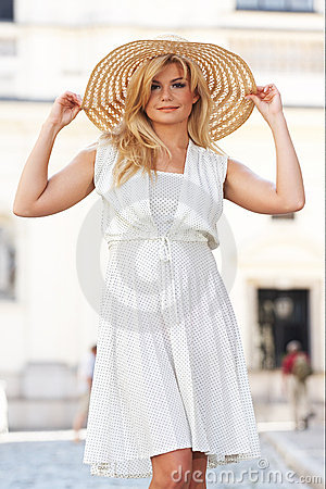 Blond Woman Wearing Sun Hat