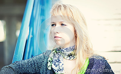 Blond women in city