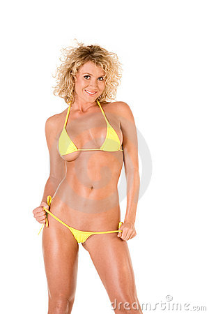 Free Blond Young Woman In Yellow Skimpy Bikini Royalty Free Stock Photography - 7992307