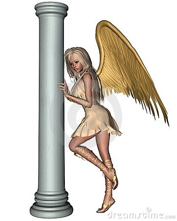 Blonde Angel leaning on a Pillar - 1