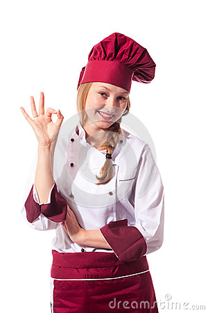 Blonde attractive female chef