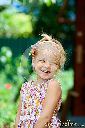 Blonde beautiful smiling little