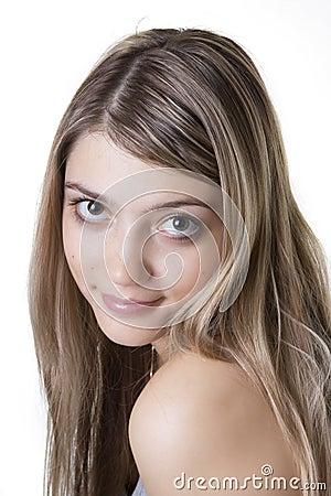 Blonde with big eyes