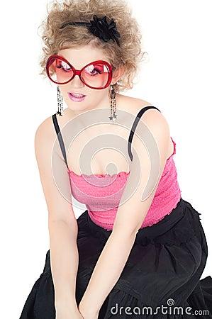 Blonde in big red sunglasses