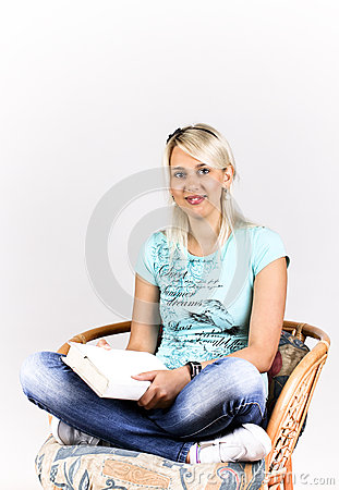 Blonde with a book