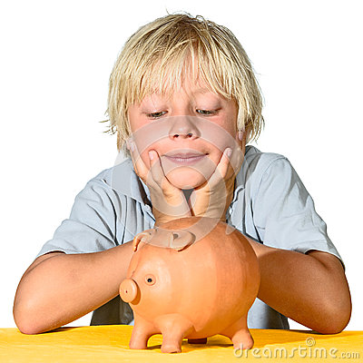 Blonde boy with piggy bank