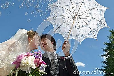 Blonde bride and groom