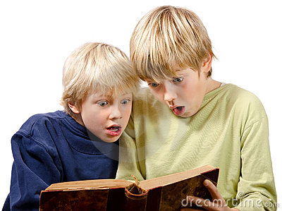 Blonde brothers reading