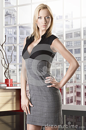 Blonde business woman full-lenght