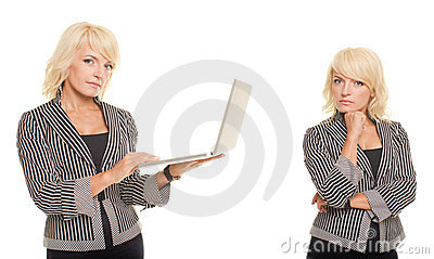 Blonde business woman with notebook