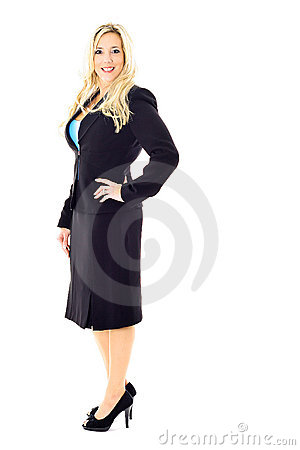Blonde business woman in suit full length