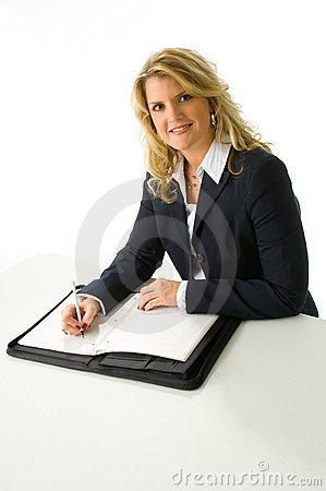 Free Blonde Business Woman Taking Notes Stock Images - 4293314