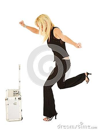 Blonde businesswoman in black