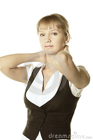 Blonde businesswoman hands behind neck