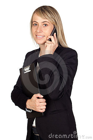 Blonde Businesswoman With A Mobile Stock Photography - Image: 21408992