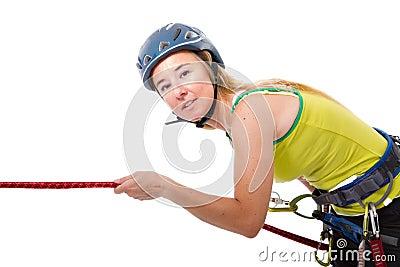 Blonde climbing woman