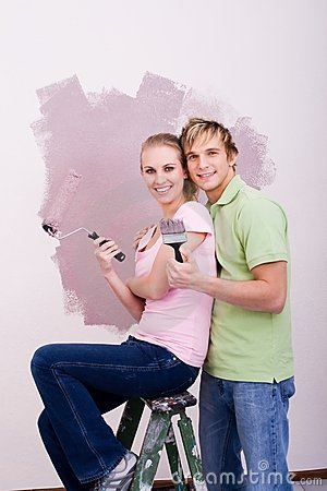 Blonde DIY couple