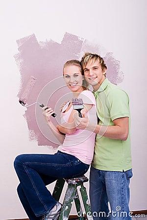 Blonde DIY couple