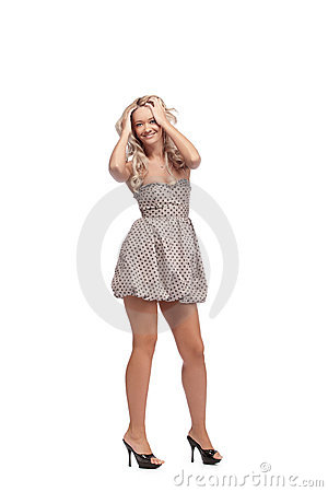 Blonde in dress isolated