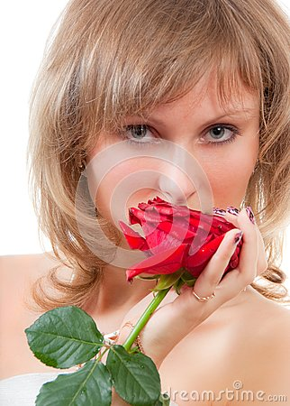 Blonde face portrait with red rose