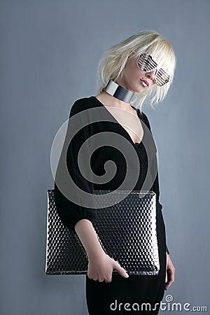 Blonde fashion futuristic businesswoman