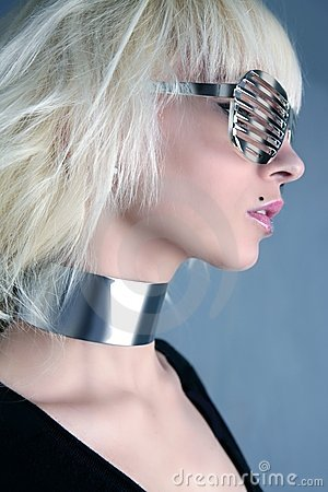 Blonde fashion futuristic silver glasses girl