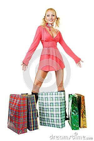 Free Blonde Fashion Model At Shopping Royalty Free Stock Photo - 7636955