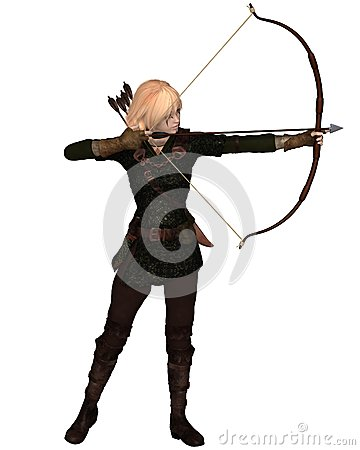 Blonde Female Archer Standing
