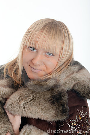 Blonde in a fur coat