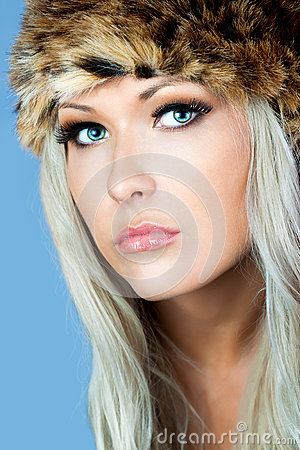 Blonde with a furry hat