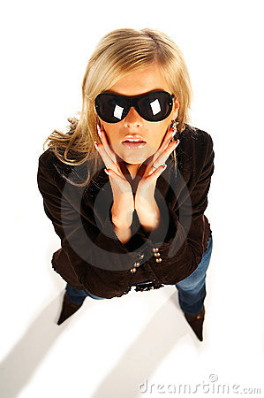 Blonde girl with black sunglasses on white