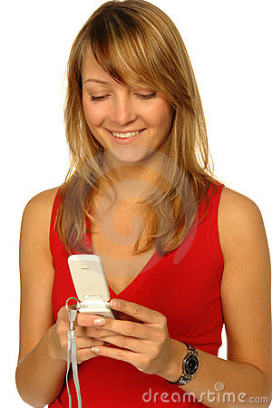 Blonde girl with cell phone