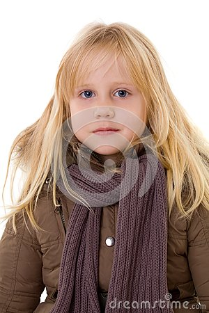 Blonde girl - child in street clothes