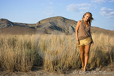 Blonde girl in the field