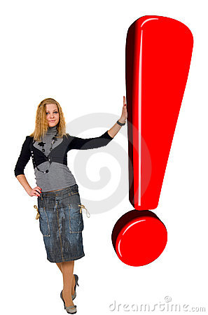 Blonde Girl With Glow Red Exclamation Sign.