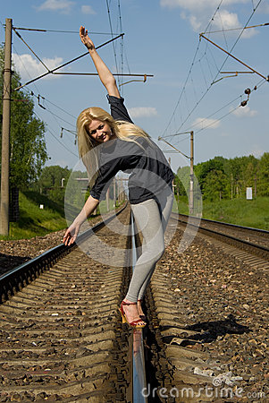 Blonde girl goes on rails