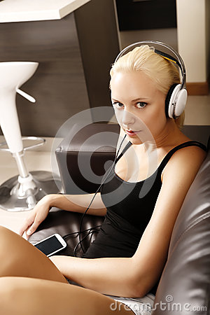 Blonde Girl with Headphones