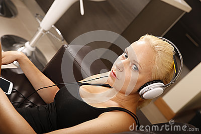 Blonde Girl with Headphones