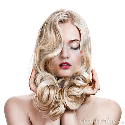 Free Blonde Girl. Healthy Long Curly Hair. Stock Photography - 23541382