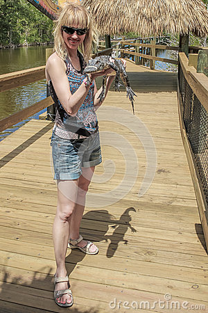Woman with alligator