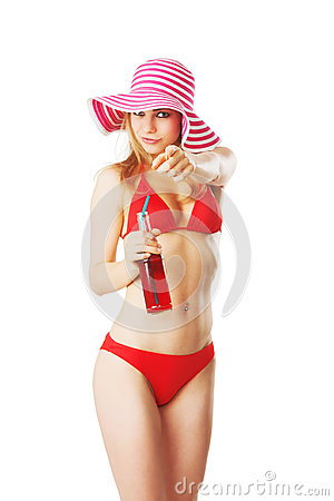 Free Blonde Girl In Beachwear Is Drinking Lemonade Royalty Free Stock Images - 31389629