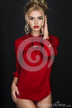 Free Blonde Girl In Red Blouse Royalty Free Stock Image - 70453246