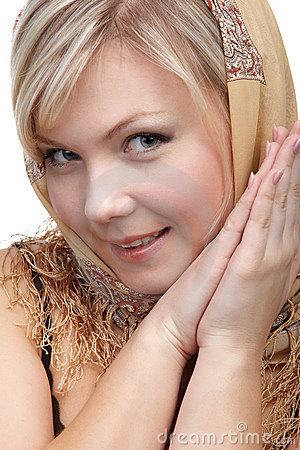 Blonde girl in kerchief