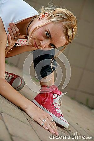 Blonde girl looking at camera