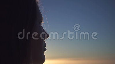 Blonde Girl Looking At Clouds. Sunrise stock footage