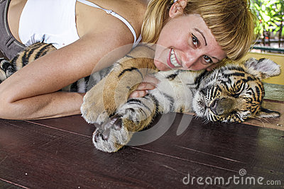 Woman enjoys tiger